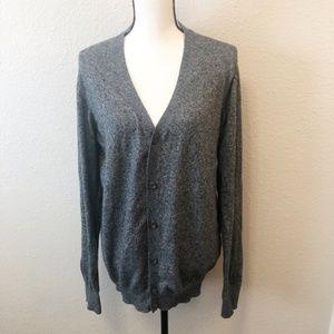 Gray Grandpa Cardigan Sweater Size XL